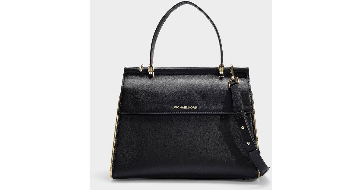 e115ef92 MICHAEL Michael Kors Jasmine Medium Top Handle Satchel Bag In Black And  Gold Calfskin in Black - Save 62% - Lyst