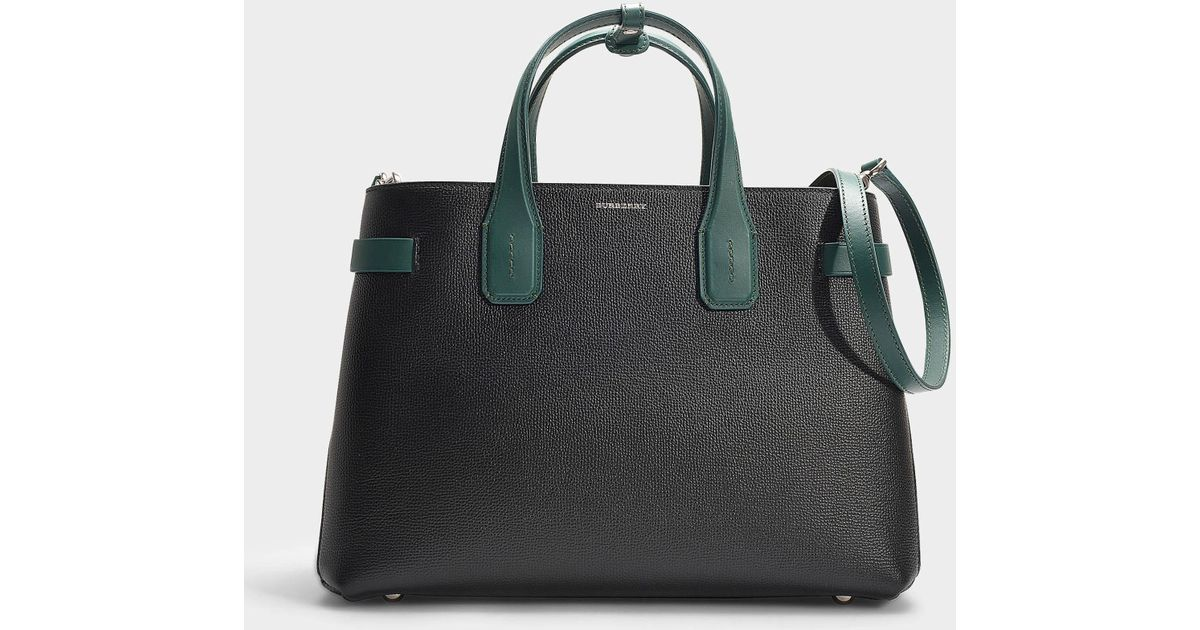 6cc9d57e23ea Burberry The Medium Banner Bag In Black And Green Calfskin in Black - Lyst
