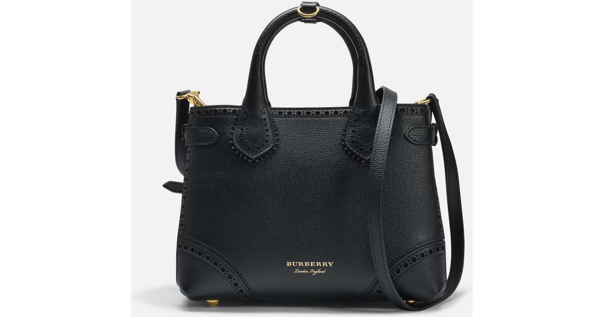 c5bcc10fd21c Lyst - Burberry Small Banner Bag In Black Grained Calfskin in Black