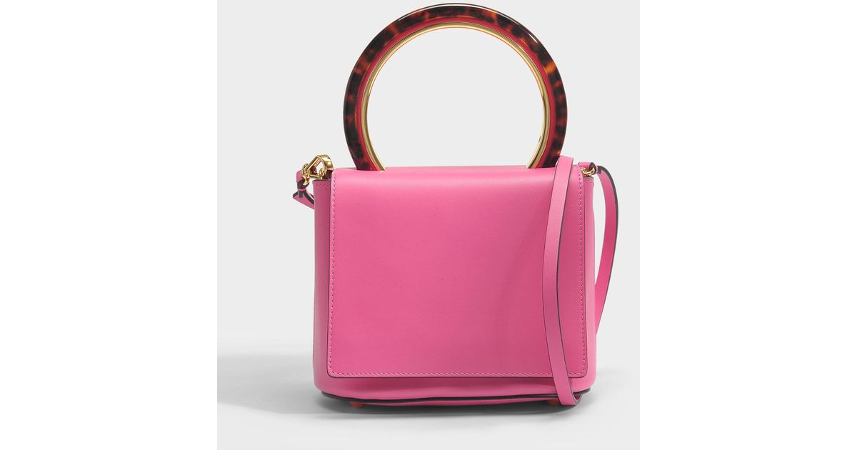 Marni Round Circle Flap Bag in Fuchsia Fluo Calf Leather xIT1iTyuZw