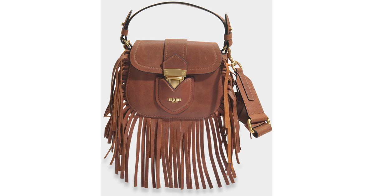 86b2d03691ca7 Moschino Hidden Lock Small Bag With Fringes In Camel Suede - Lyst