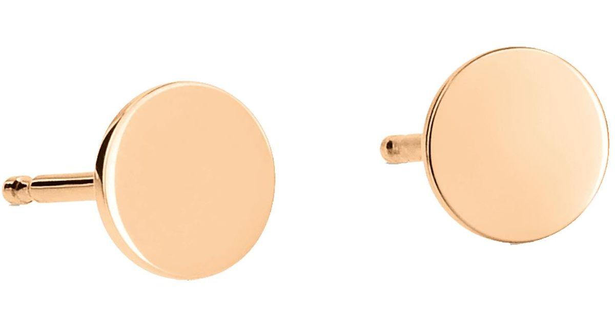 Ginette NY Mini Ever Disc 18-karat rose gold studs hVzKZ2
