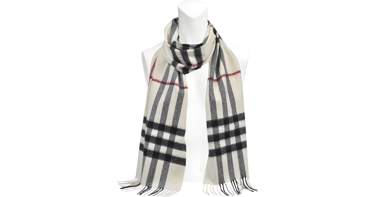 Burberry 168x130 Giant Icon Scarf In White Cashmere - Lyst 293a6670fd0f9