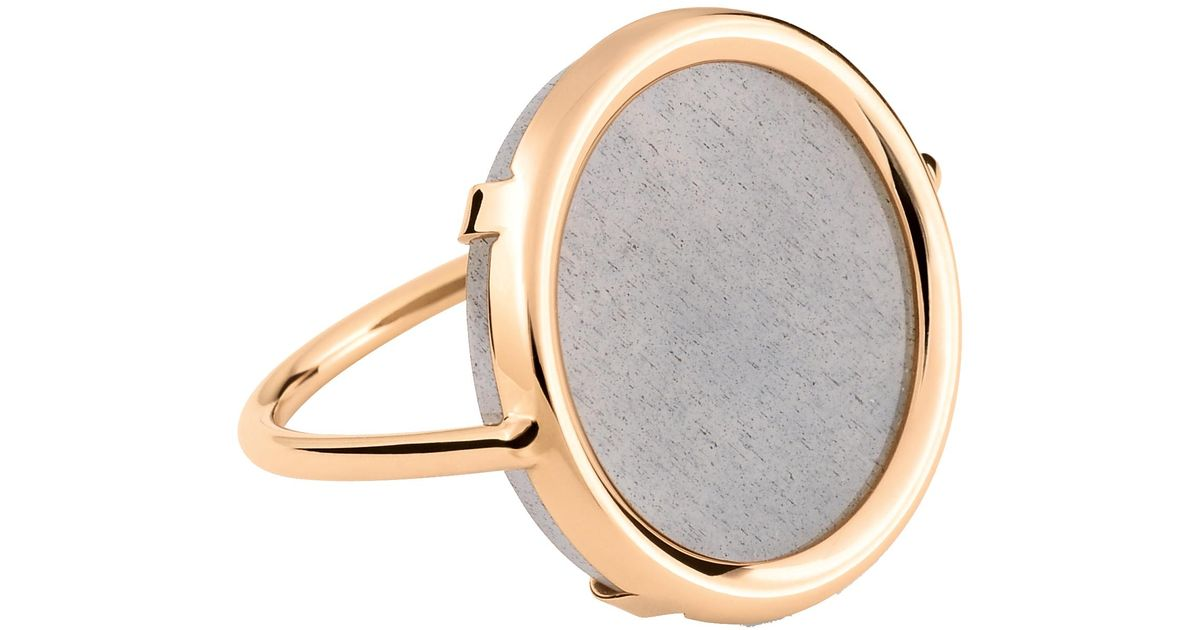Brush Gold 18-karat rose gold Disc ring Ginette NY iHQ5oN5