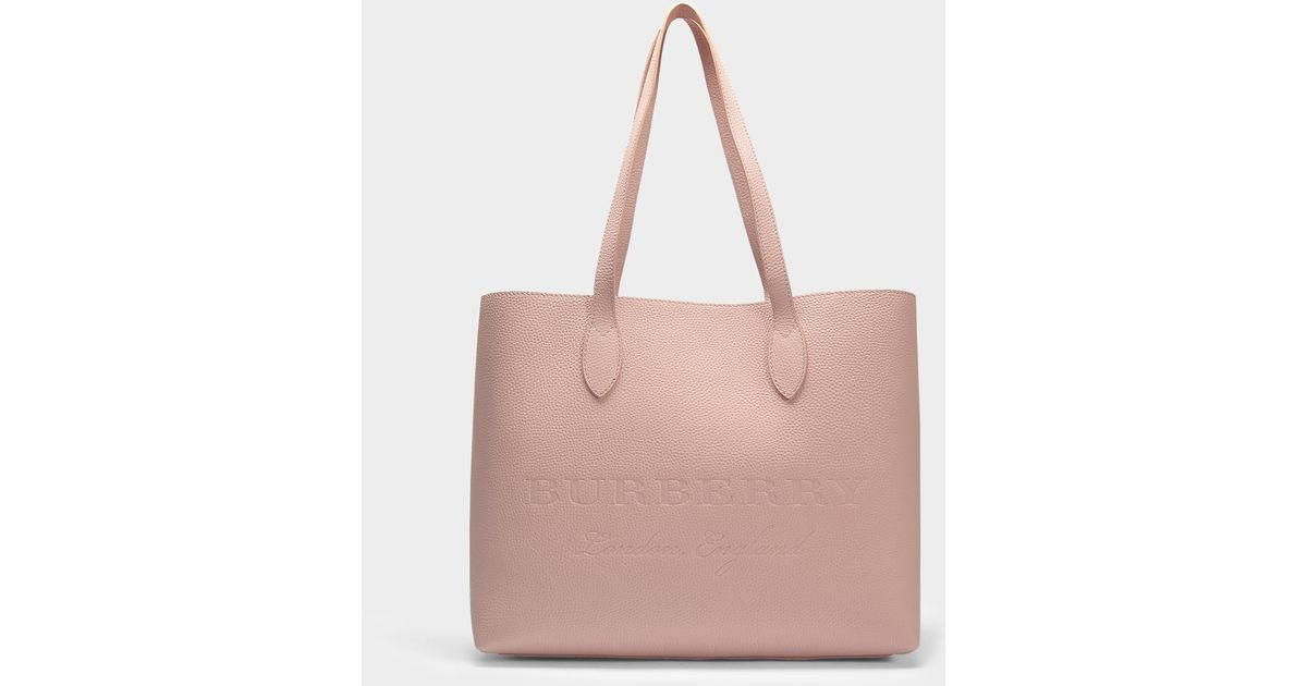 Lyst - Burberry Remington Large Embossed Leather Tote in Pink bde55bdede044