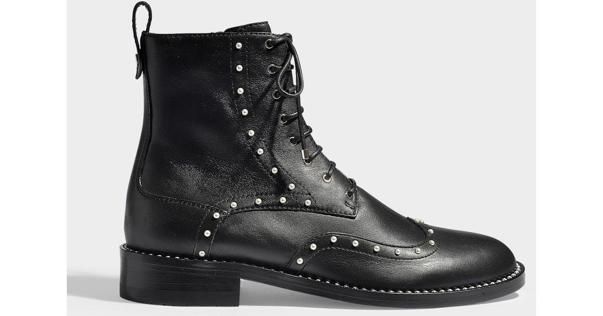 3b811354f5ed Lyst - Jimmy Choo Hanah Flat Combat Boots In Black Smooth Calfskin And  Pearls in Black