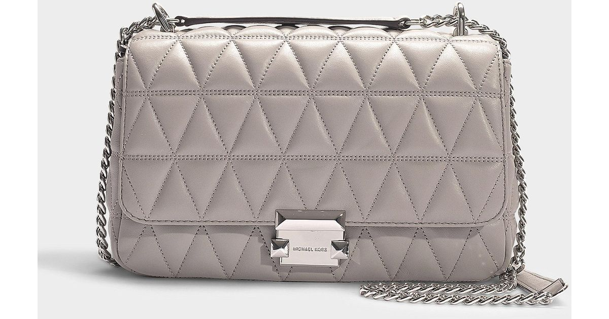 e5ba54250c20 Michael Kors Sloan Large Quilted-leather Shoulder Bag in Gray - Lyst