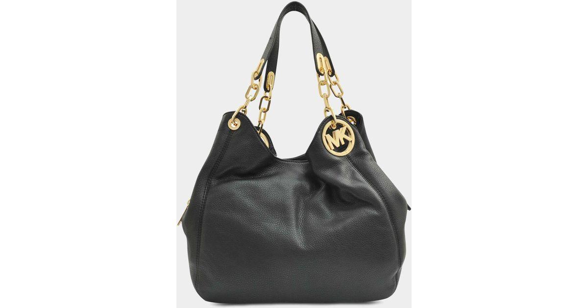 23759815ef21 Lyst - Grand sac cabas fulton porté epaule en cuir noir MICHAEL Michael Kors  en coloris Noir