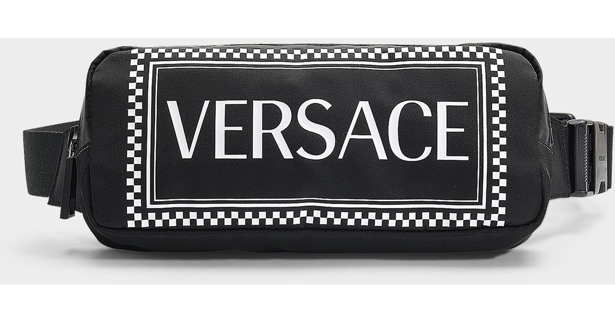 527c8341f142 Versace Logo Printed Belt Bag in Black - Save 10.270270270270274% - Lyst