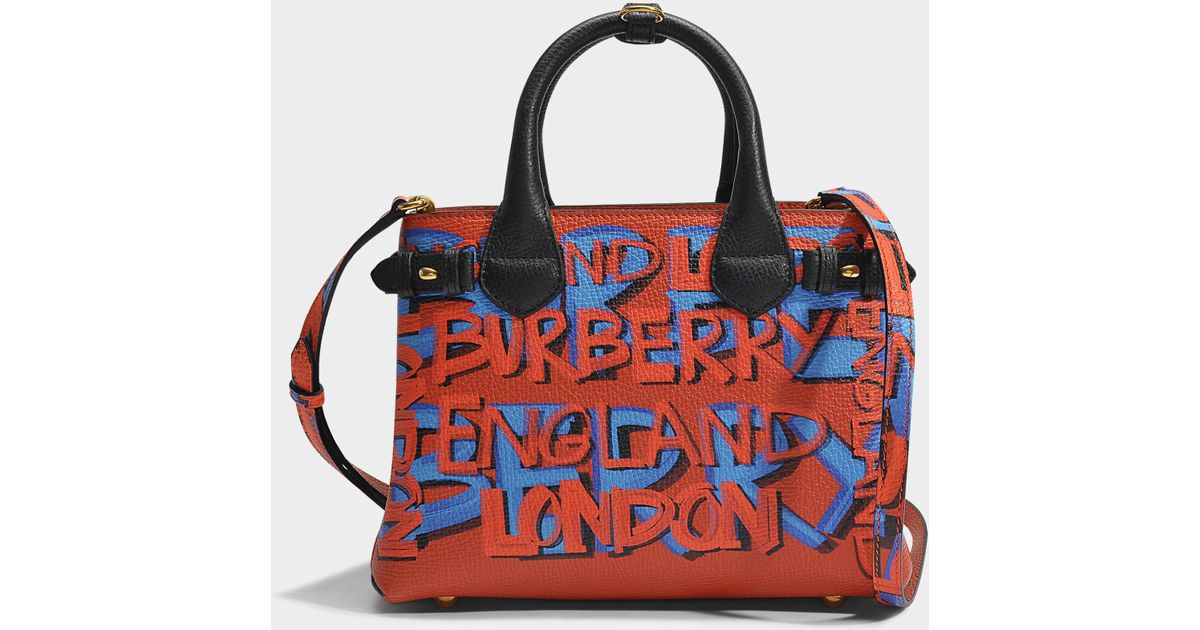 8694a829e731 Lyst - Burberry Small Banner Graffiti Bag In Black Leather Graffiti Print  in Black