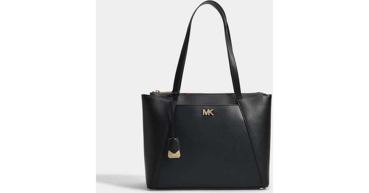 Michael Michael Kors Sac Cabas Mott Medium East-West Top Zip en Cuir Crossgrain Noir 9UmL4p75