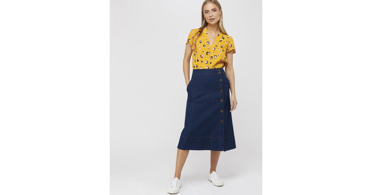 c00aef2c6b Monsoon Maya Midi Denim Skirt in Blue - Lyst