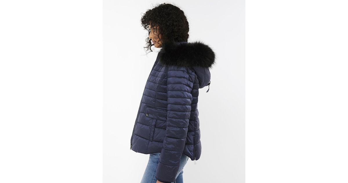 a51236af0d61 Monsoon Monica Quilted Fur Collar Coat in Blue - Lyst