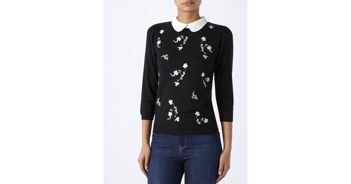 f066ad8564dabe Monsoon Shelly Scallop Collar Embroidered Jumper in Black - Lyst