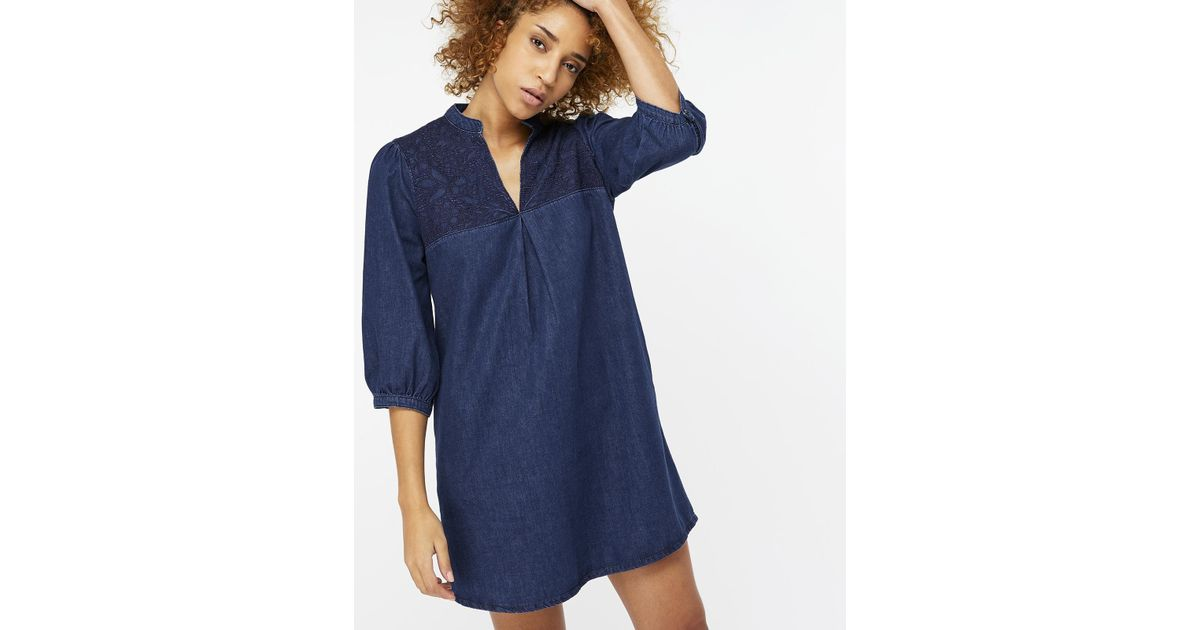 a7476fb85cf Monsoon Stevie Embroidered Denim Dress in Blue - Lyst
