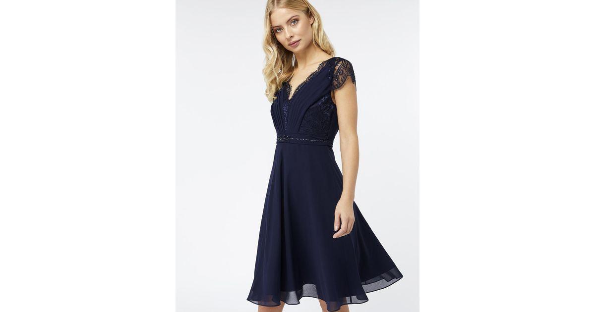 e20b3aba057 Monsoon Brigitte Lace Knee Length Dress in Blue - Lyst