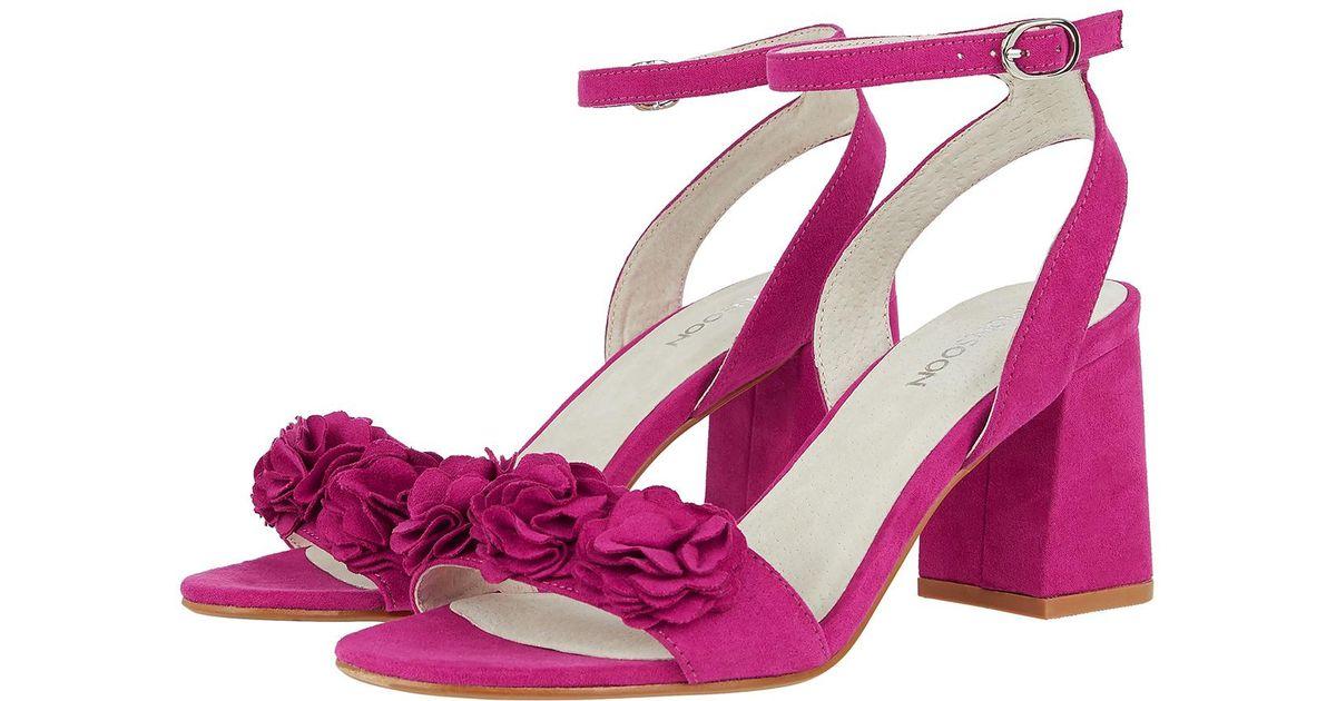 Monsoon faith flower block heel sandals in pink lyst mightylinksfo