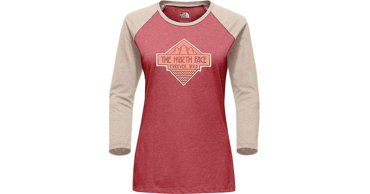 1acca37f419 Lyst - The North Face Tenaya 3 4 Sleeve Baseball Tee in Red