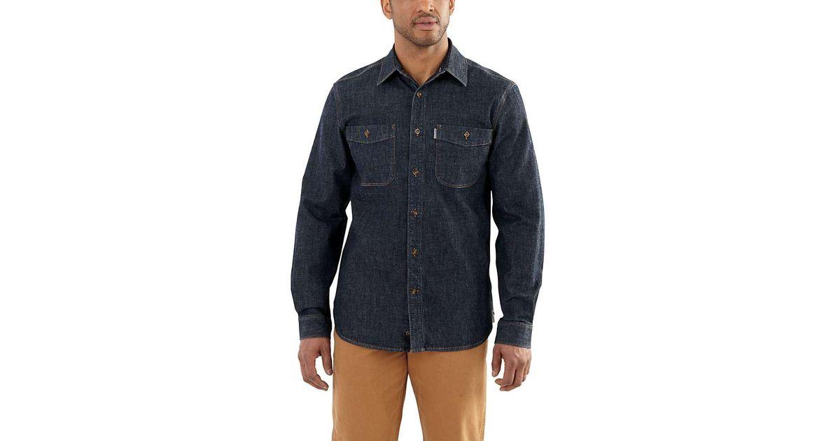2436e93098 Lyst - Carhartt Rugged Flex Patten Denim Shirt in Blue for Men