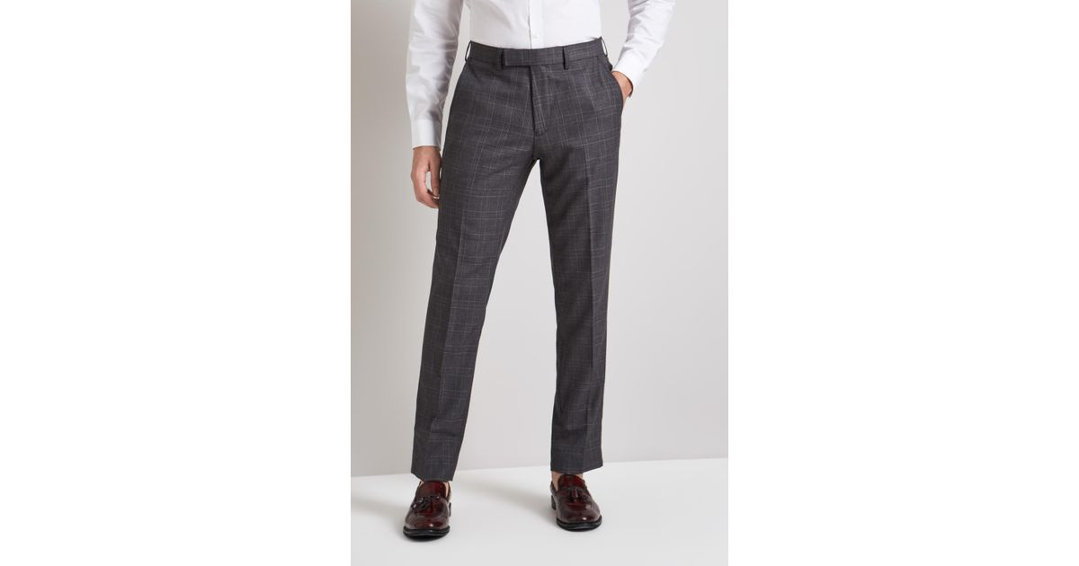 149ac23f6375d Moss London Skinny Fit Charcoal With Pink Windowpane Check Trousers in Gray  for Men - Lyst