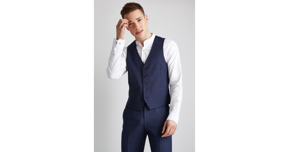 13d2eeb16364ae Lyst - Moss London Skinny Fit Unstructured Blue Check Waistcoat in Blue for  Men