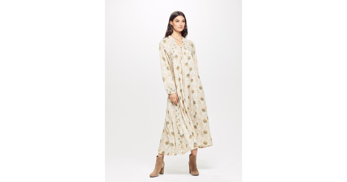 0d84cd71c4d Natalie Martin Fiore Floral-print Maxi Dress in Natural - Lyst