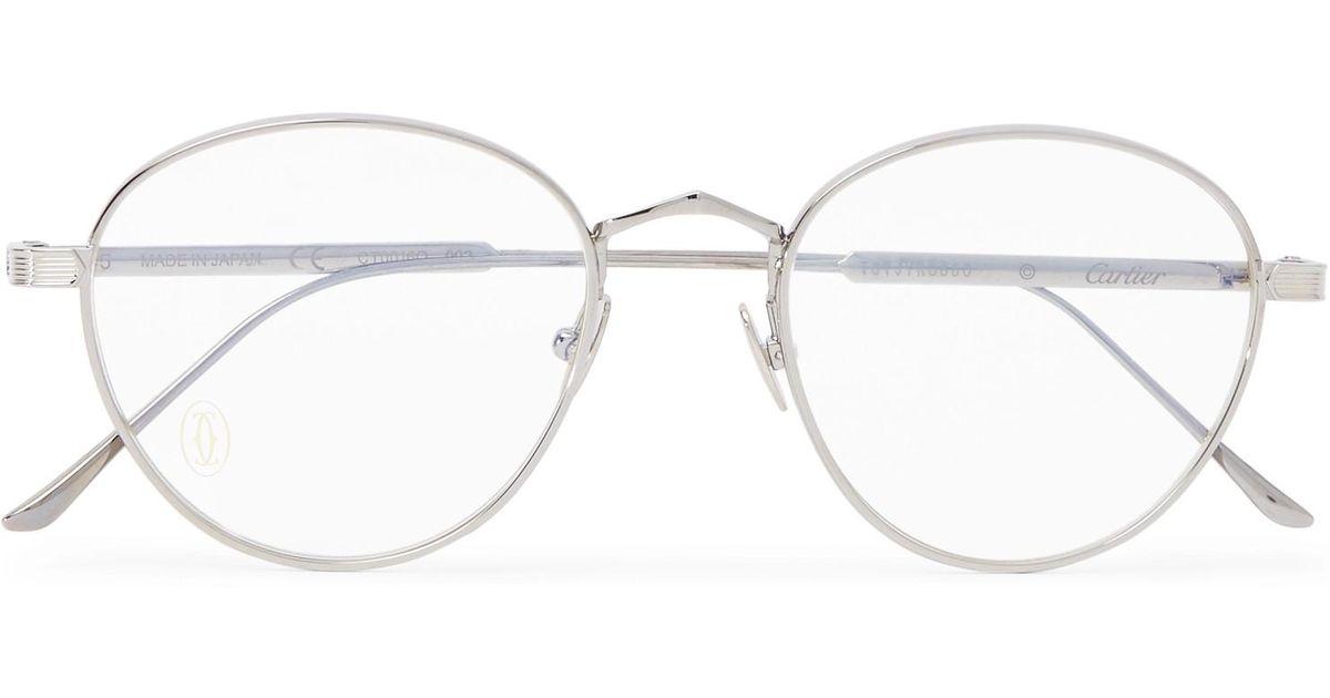 01151e3576c2 Lyst - Cartier Signature C De Cartier Round-frame Silver-tone And Ruthenium Optical  Glasses in Metallic for Men