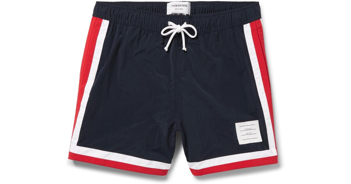 5a298134216f6 Thom Browne Mid-length Stripe-trimmed Swim Shorts in Blue for Men - Lyst