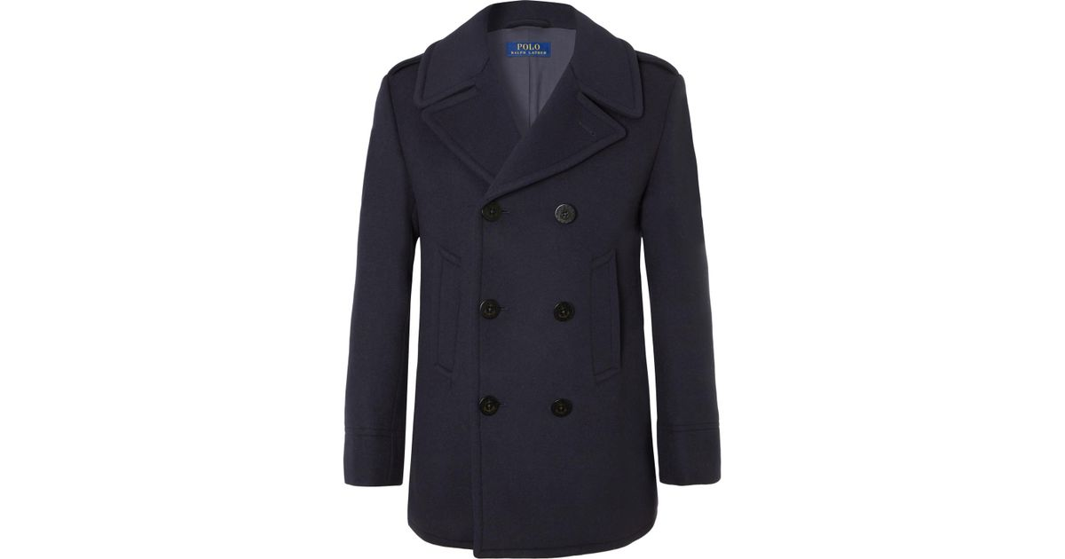 592057f83082 Blue Double Wool Ralph For Peacoat Men Polo Lyst Breasted Blend Lauren Felt  In TnvqtgqXW5