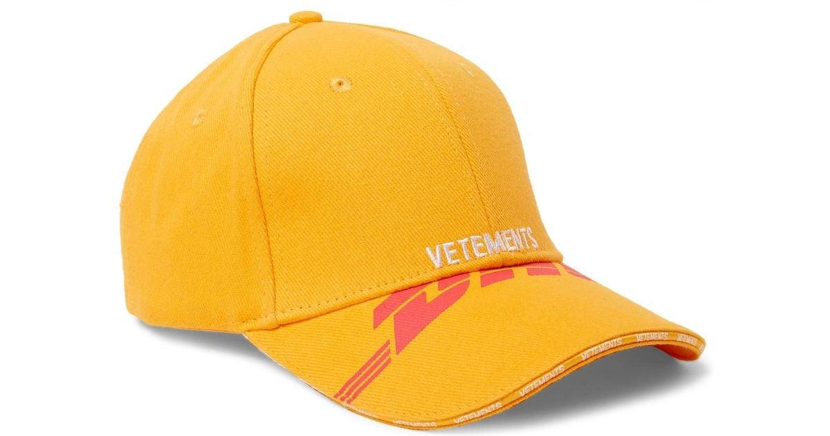 yellow DHL cotton baseball cap VETEMENTS WB4gRRf