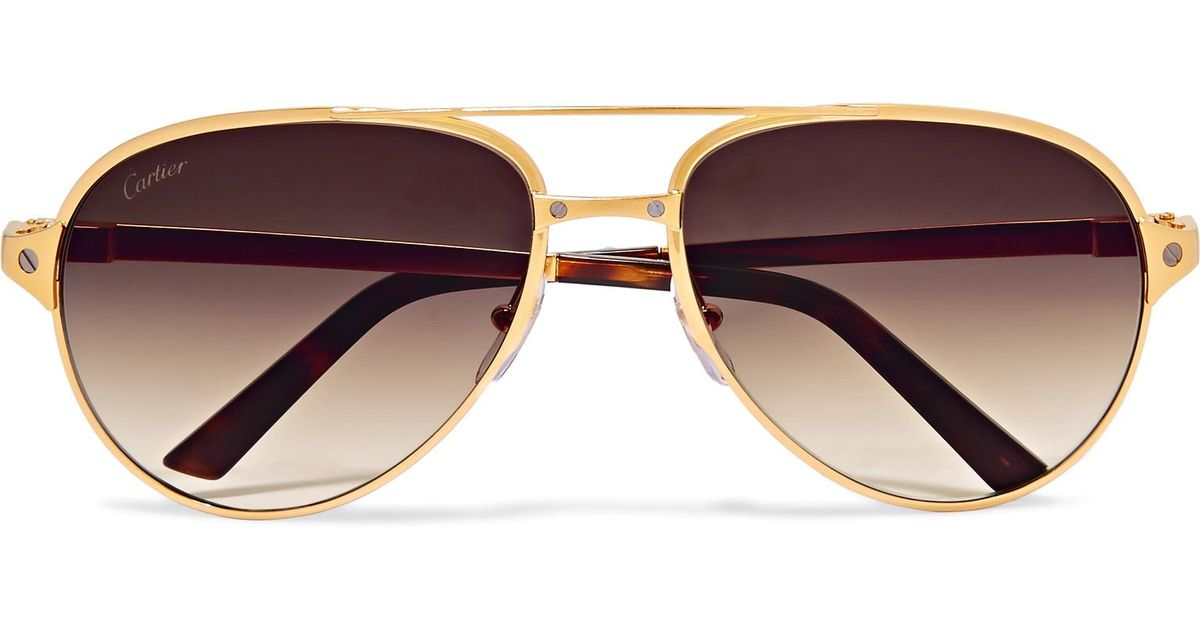 c4c6b29222bf Lyst - Cartier Santos De Cartier Aviator-style Leather-trimmed Gold-plated  Sunglasses in Metallic for Men