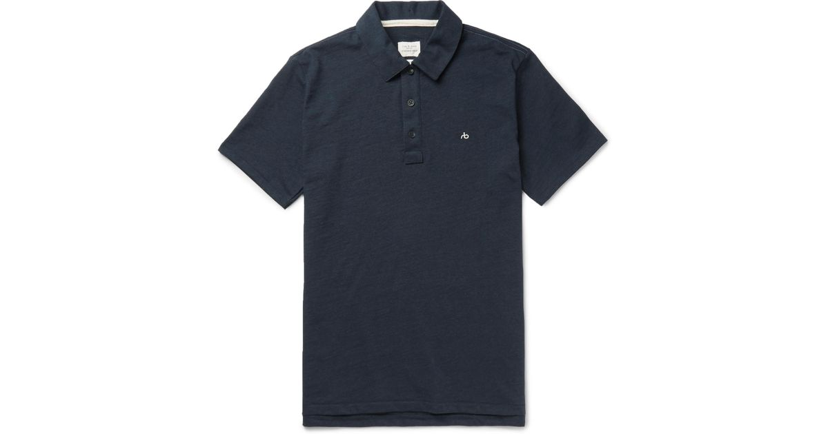 RAG&BONE Standard Issue Cotton Polo Shirt - Navy xWGyxUtgQ