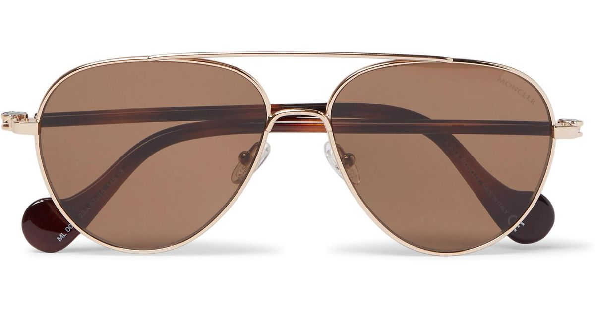 Moncler Aviator-style Gold-tone And Tortoiseshell Acetate Sunglasses - Brown vBXpN