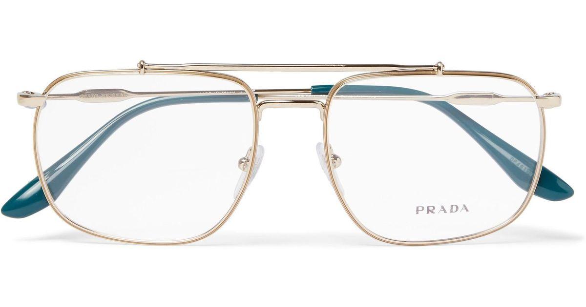 c41b00f944f Lyst - Prada Aviator-style Gold-tone Optical Glasses in Metallic for Men
