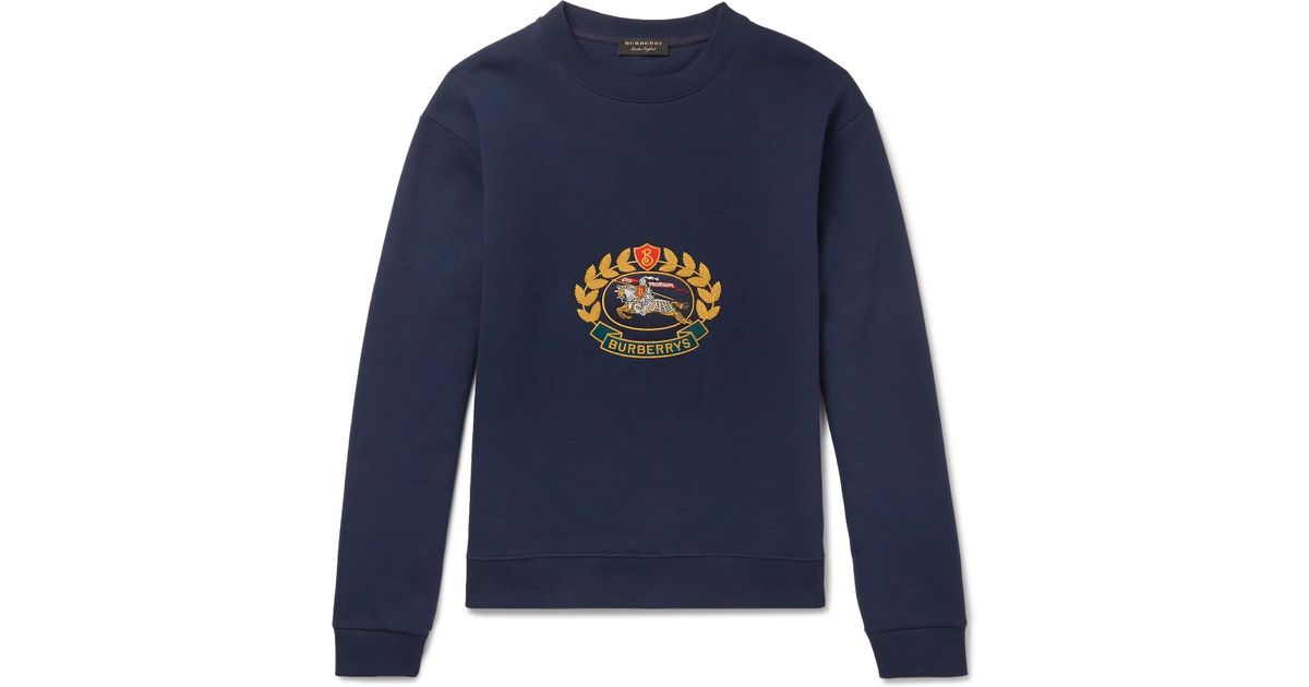 1b83b080ad30 Lyst - Burberry Pre-owned Navy Cotton Knitwear   Sweatshirts in Blue for Men