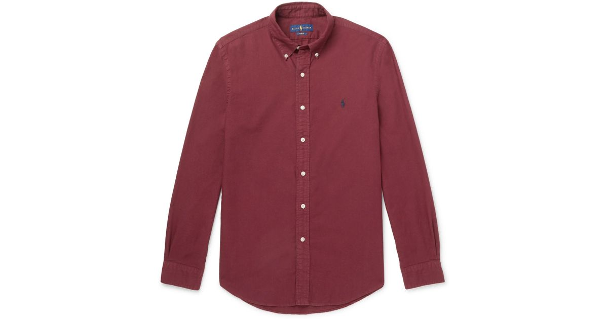 a06bf7efb90 Lyst - Polo Ralph Lauren Slim-fit Button-down Collar Garment-dyed Cotton  Oxford Shirt in Red for Men