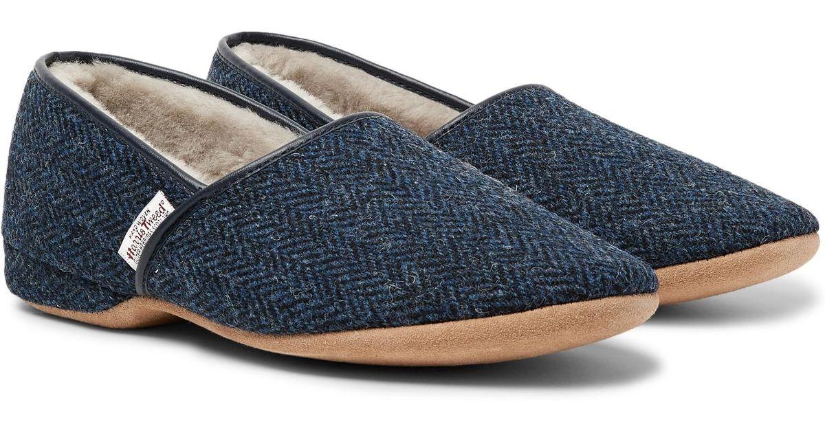 d9c9f8c97ede9 Lyst - Derek Rose Crawford Shearling-lined Harris Tweed Slippers in Blue  for Men