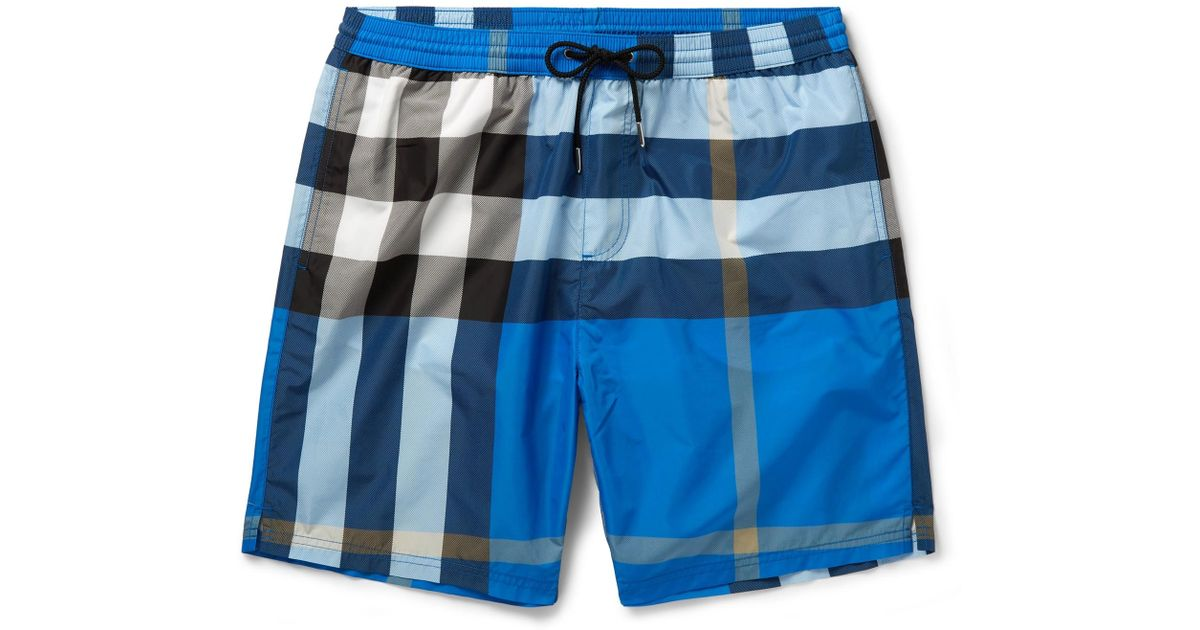 ab99d60119 Burberry Mid-length Checked Swim Shorts in Blue for Men - Lyst