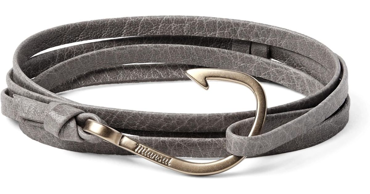 Lyst Miansai Hook Grained Leather And Gold Plated Wrap Bracelet In Gray For Men