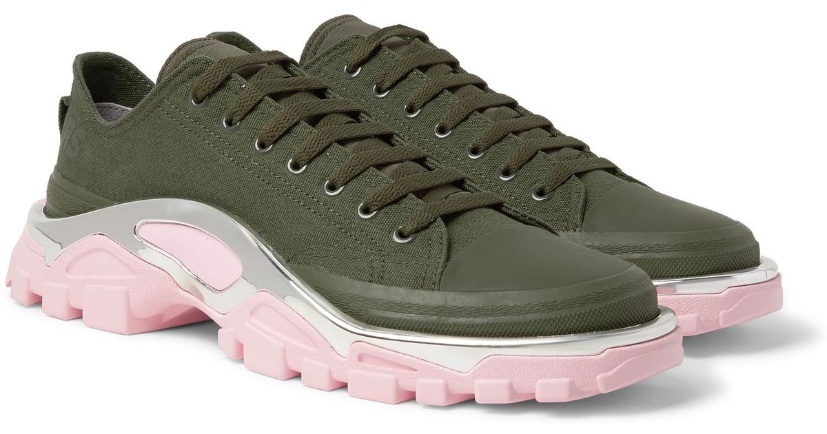 Raf Simons + Adidas Originals Detroit Runner Rubber-trimmed Canvas Sneakers  in Green for Men - Lyst dce8d6ef7