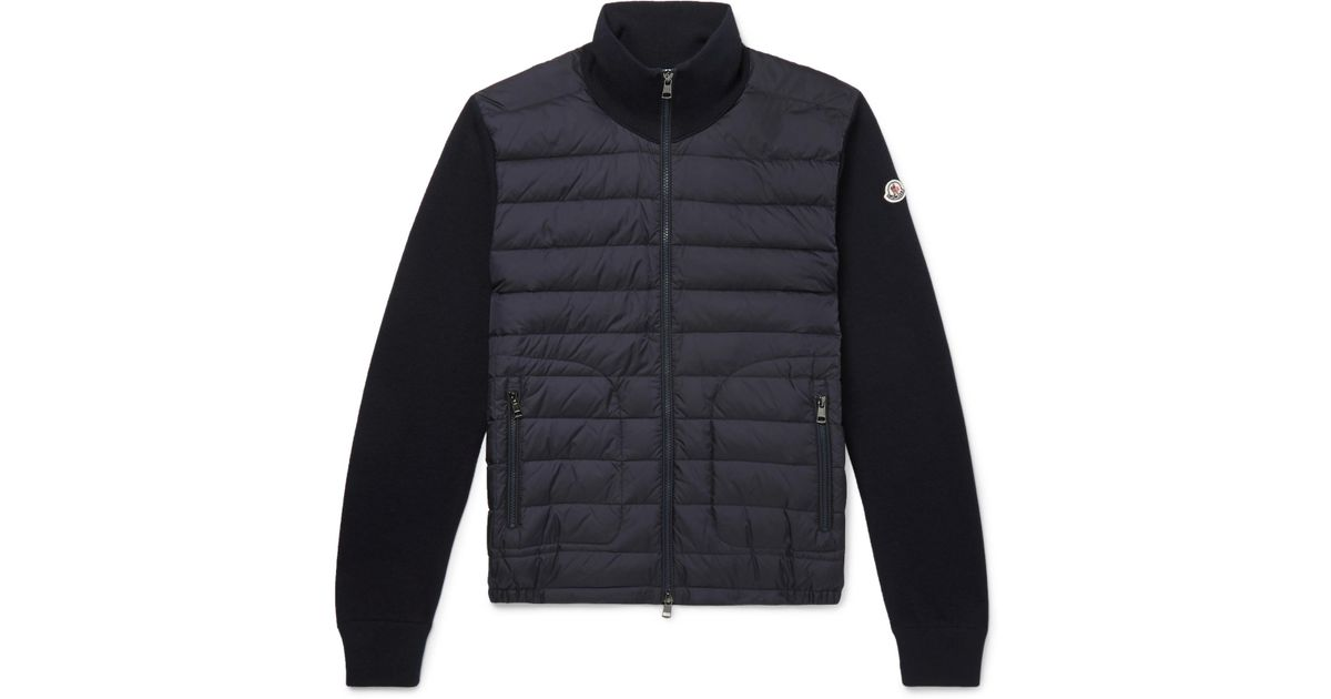 10fec55a8356 Lyst - Moncler Panelled Jersey And Quilted Shell Down Jacket in Blue ...