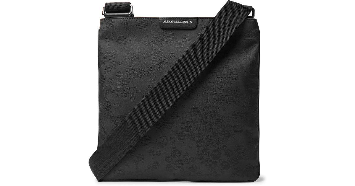Leather-trimmed Jacquard Messenger Bag Alexander McQueen ozWWd7nA