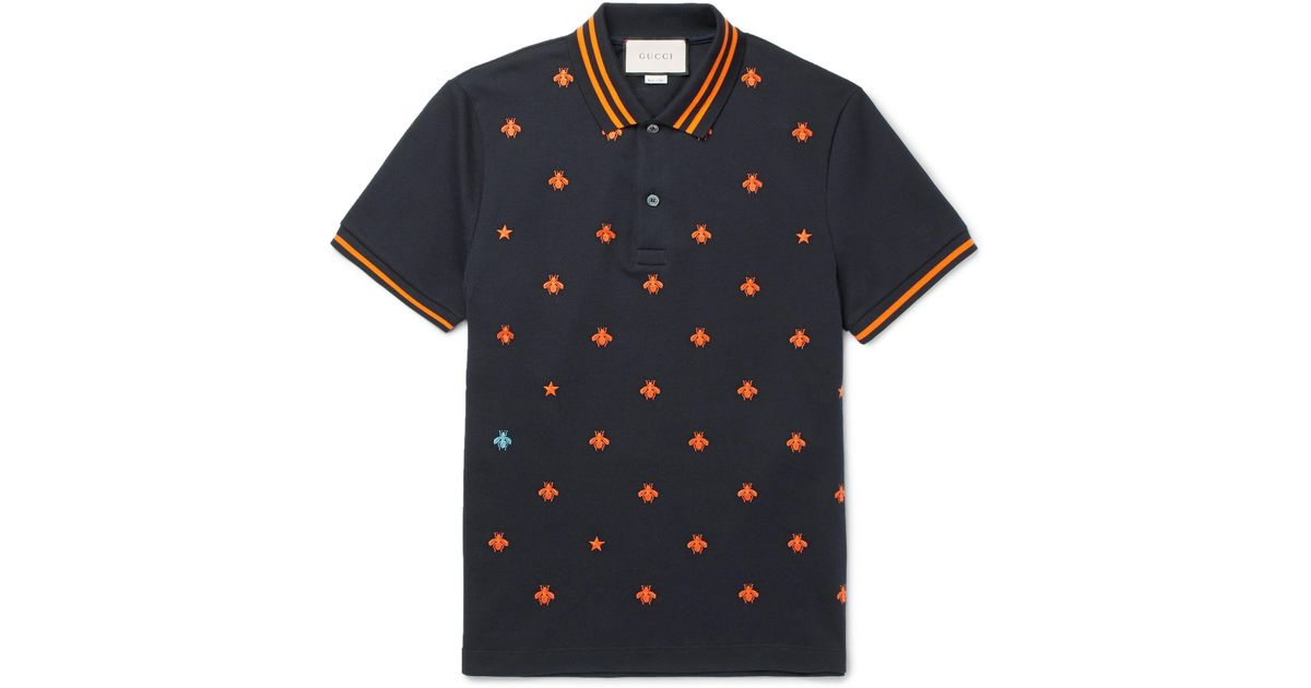 8136ff1d58e Lyst - Gucci Slim-fit Embroidered Stretch-cotton Piqué Polo Shirt in Black  for Men
