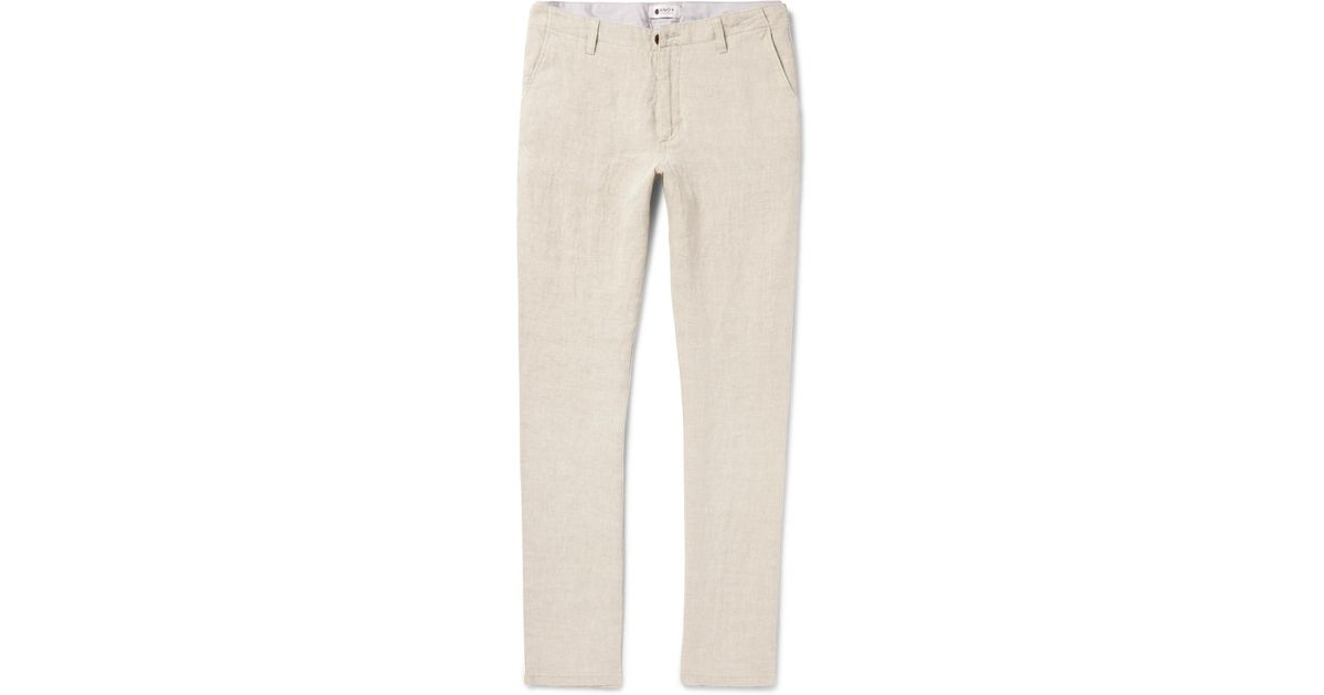 Lyst - NN07 New Simon Slim-fit Tapered Linen Trousers in Natural for Men 4a1215d14eb72
