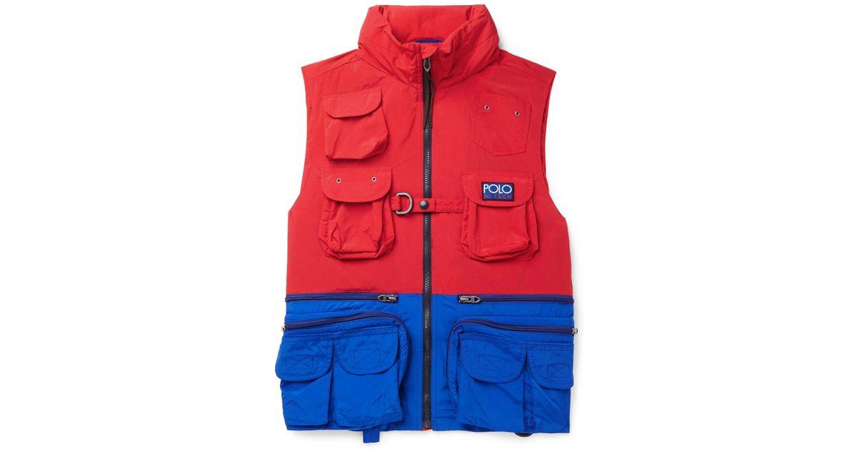 268745aab0530f Polo Ralph Lauren Hi-tech Logo-appliquéd Colour-block Shell Hooded Gilet in  Red for Men - Lyst