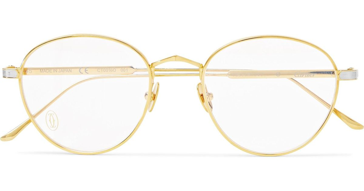 cfee14f8c Cartier Signature C De Cartier Round-frame Gold And Silver-tone Optical  Glasses in Metallic for Men - Lyst