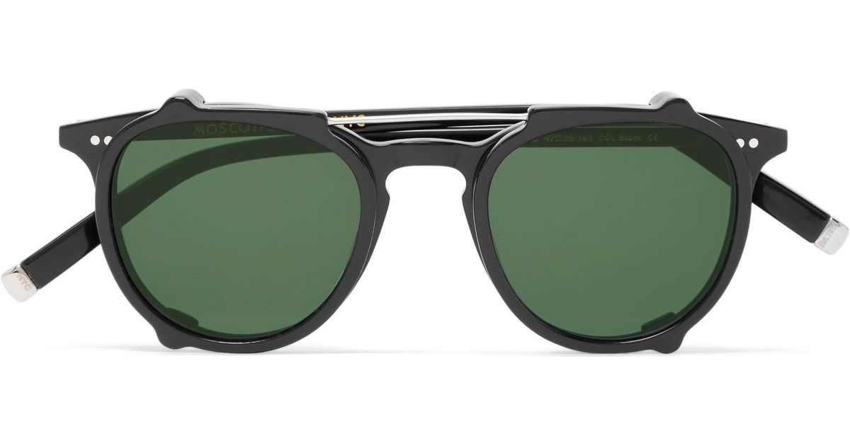 5f18542c7a Moscot Jared Round-frame Acetate Optical Glasses With Clip-on Uv Lenses in  Black