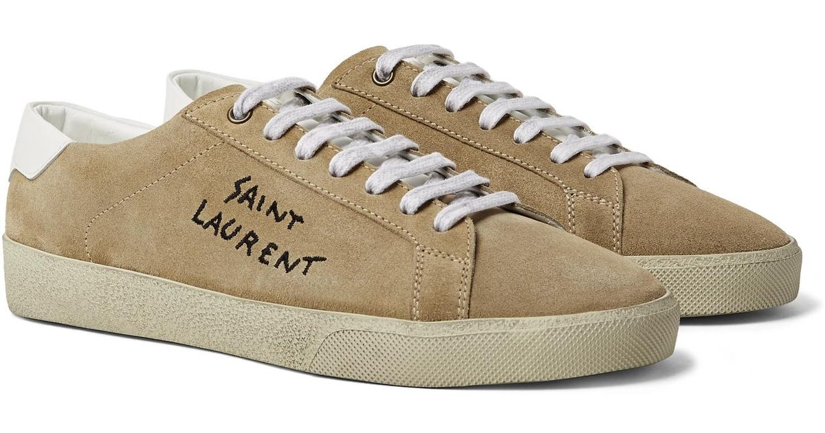 6ae4f0dad6fb Lyst - Saint Laurent Sl 06 Court Classic Leather-trimmed Embroidered Suede  Sneakers in Natural for Men