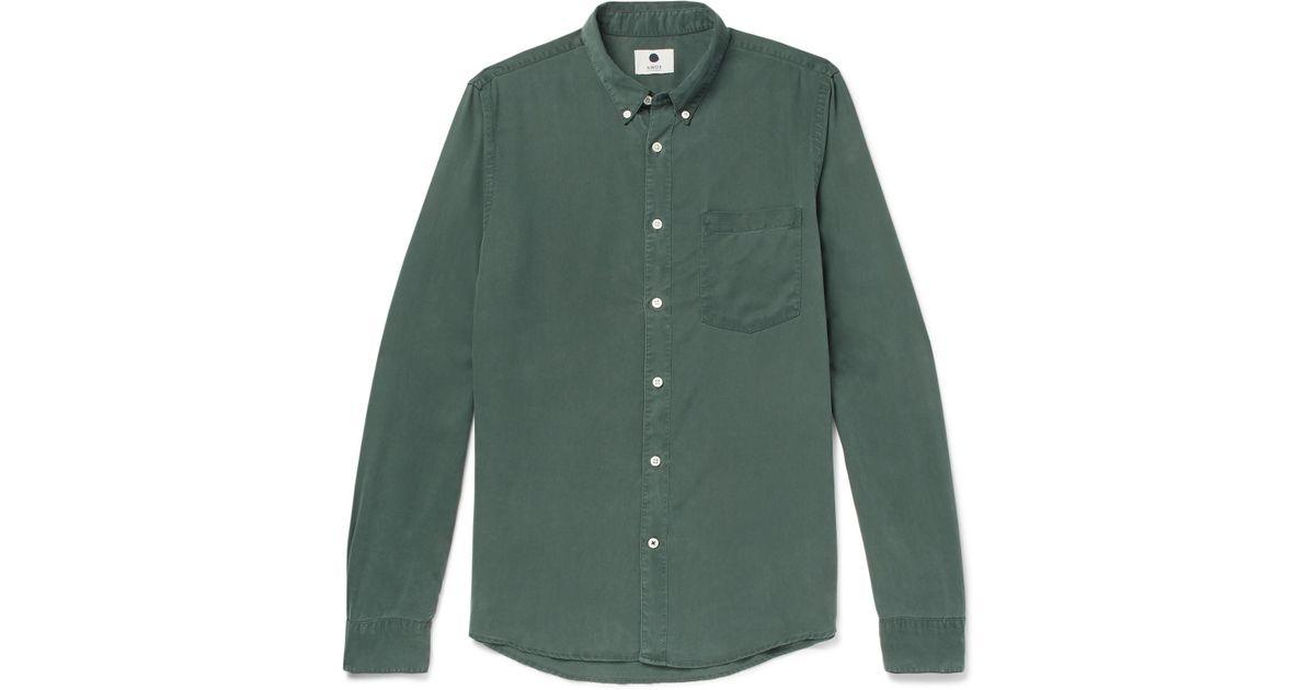 NN.07 Falk Button-down Collar Printed Tencel Shirt - Navy ztQ81