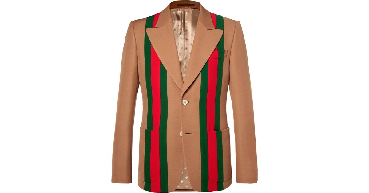 0464f2629 Gucci Camel Striped Wool And Silk-blend Crepe Suit Jacket in Red for Men -  Lyst